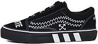 Женские кеды OFF-WHITE x Vans Old Skool 2019 Black (Ванс Олд Скул ОФФ Вайт) в стиле черные