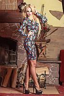 Стильное женское облегающее платье-футляр в цветочек, фото 1