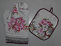 Прихватка и рукавица для кухни ткань лён