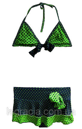 Раздельный детский купальник с юбкой Зеленый+темно-синий, фото 2