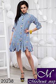 Женское короткое платье рубашка 3 цвета (р. S, M, L) арт. 20238 L, Голубой