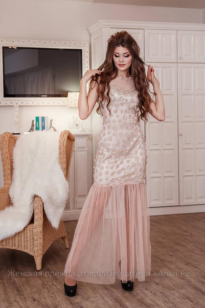 Вечернее платье с сеткой