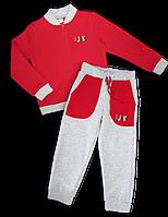 Детский костюм с начесом (унисекс) красный, 5-6