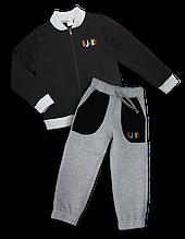 Детский костюм с начесом (унисекс) черный, 3-4