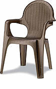 Кресло Intreciata антрацит, серо-бежевое, бронза