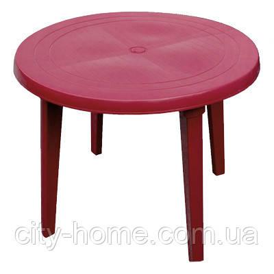 Стол пластиковый круглый 90 см вишневый, фото 2