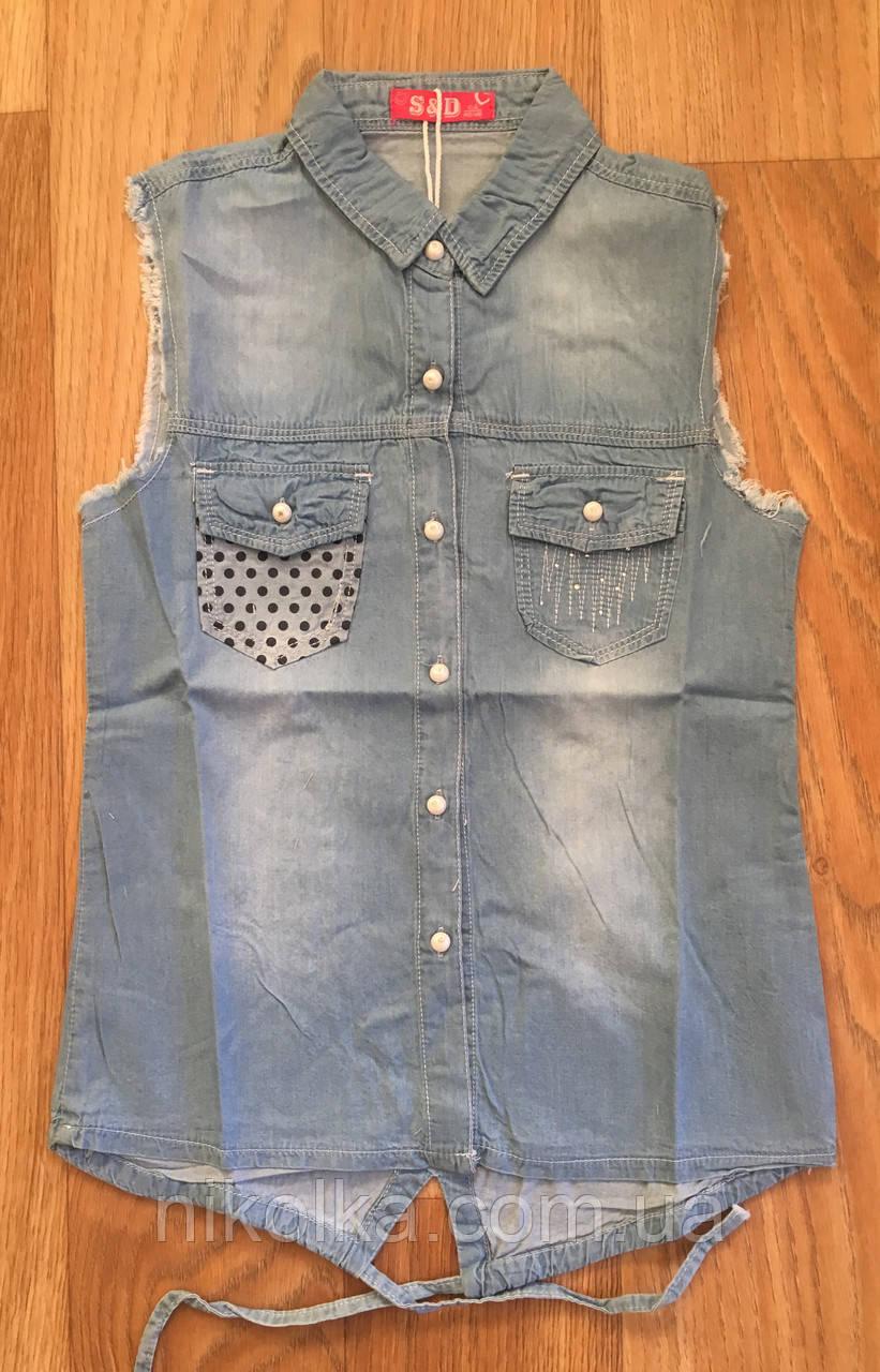 Джинсовые рубашки для девочек оптом, S&D,134-164 рр.,  Арт. KK-742