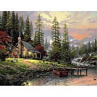 "Картина по номерам, картина-раскраска ""Охотничий домик"" 50Х65см QS1441"