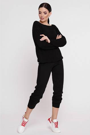 """Красивый женский вязаный костюм двойка со штанами и свободным джемпером """"ELLY"""" черный, фото 2"""