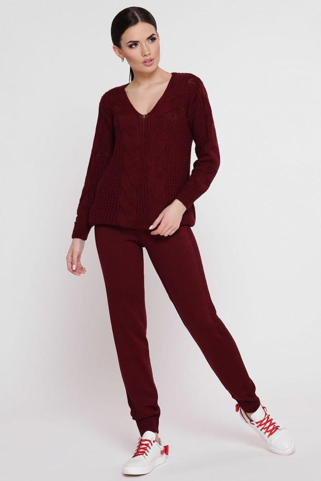 """В'язаний костюм-двійка: светр і штани з ажурною вузький """"KESY"""" марсала"""