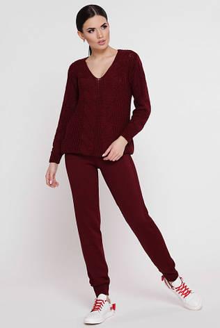 """В'язаний костюм-двійка: светр і штани з ажурною вузький """"KESY"""" марсала, фото 2"""