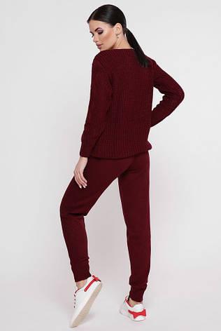 """Вязаный костюм-двойка: свитер и штаны с ажурной вязкой """"KESY"""" марсала, фото 2"""