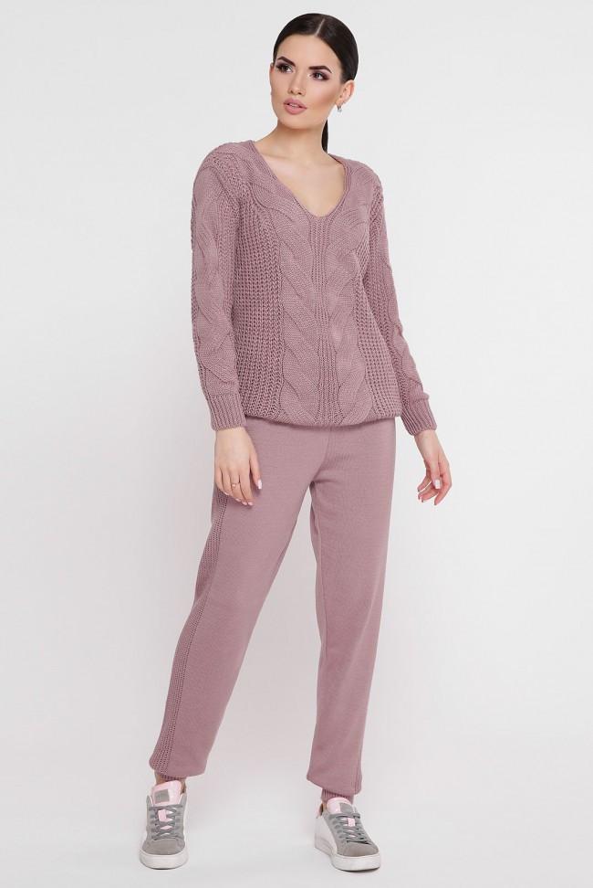 0b680723560 Красивый молодежный женский вязаный костюм-двойка  свитер и штаны с узорами