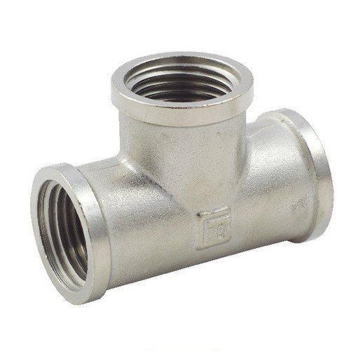 Тройник латунный FADO 2 ВВВ никель