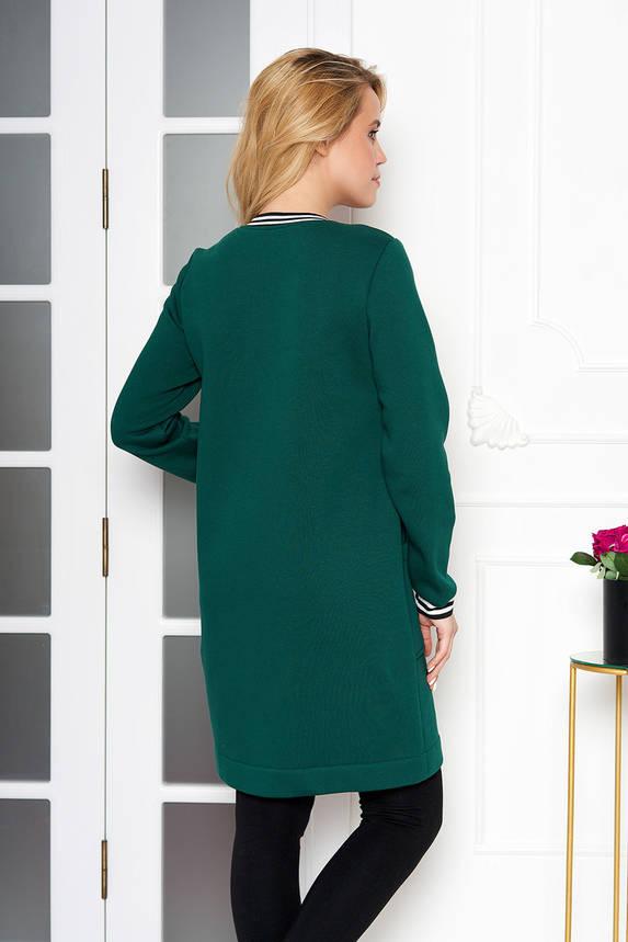 Стильный женский кардиган теплый темно-зеленый, фото 2