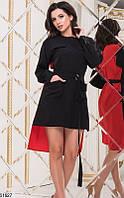 Платье летнее двухцветное со шлейфом сзади длиннее мини выше колена с поясом с карманами Цвет : Красный + Черный Размер : 42 44 46 Материал : Софт