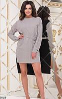 Платье летнее двухцветное со шлейфом сзади длиннее мини выше колена с поясом с карманами Цвет : Принт + Черный Размер : 42 44 46 Материал : Софт