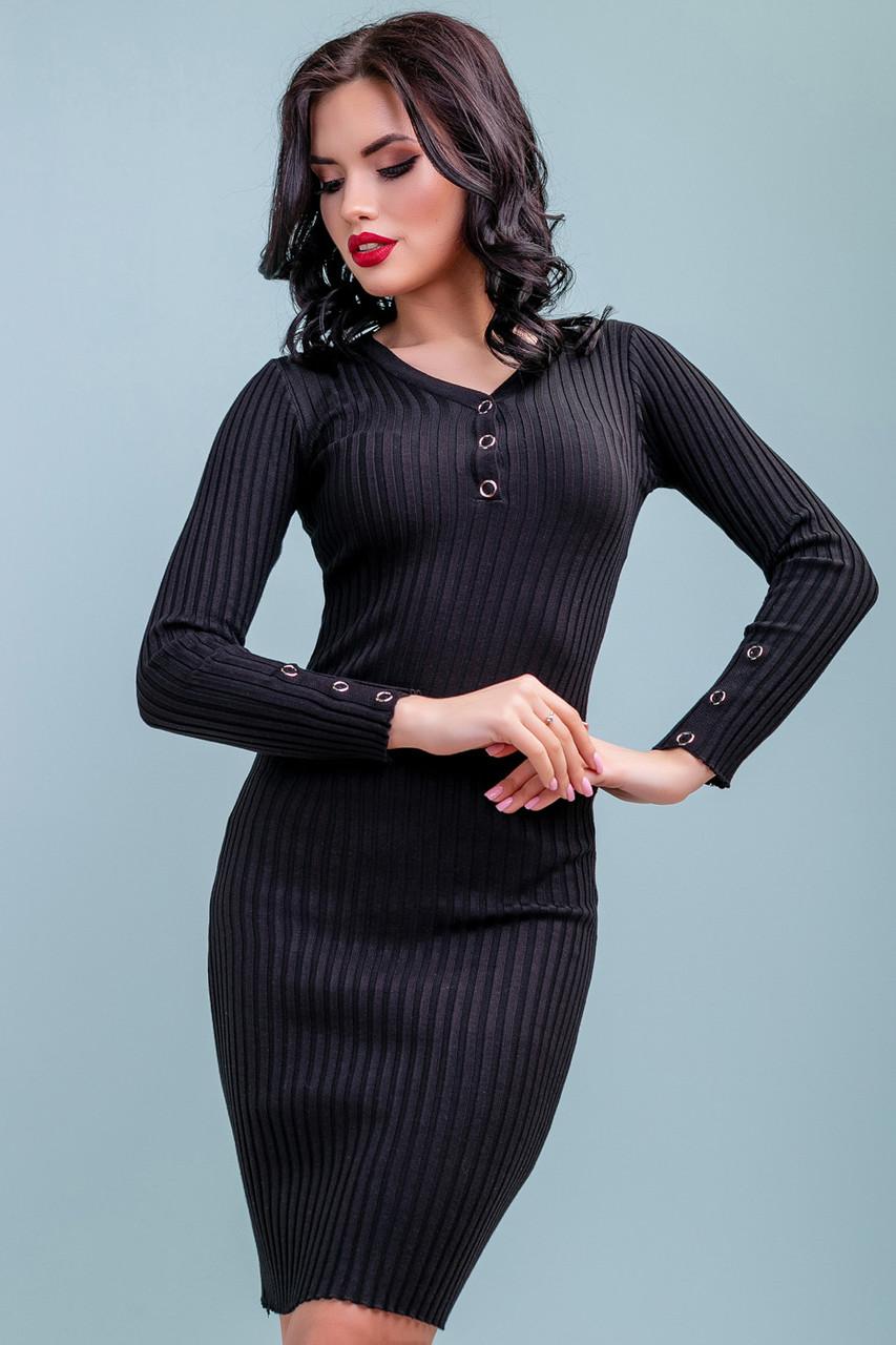 357e0fc868e 💧️Трикотажное Облегающее Черное Платье   Размер S-L   P11A6B3 - 3248 — в  Категории