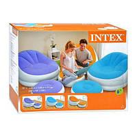 Кресло велюровое надувное с подставкой-пуфом INTEX 68572