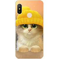 Бампер силиконовый для Huawei P20 Lite с рисунком Котик в шапке