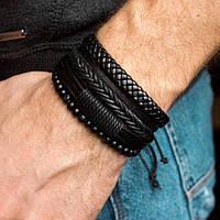 Браслет кожаный мужской mod.Liberty чёрный