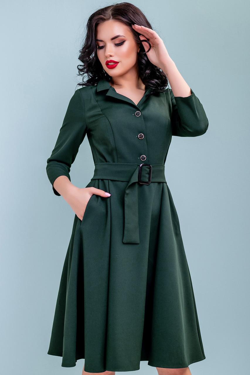 61f5b1e1efdd0fd 💧️Зеленое расклешенное платье на пуговицах / Размер M L XL XXL / P11A6B3 -  3231, цена 766 грн., купить в Киеве — Prom.ua (ID#925566207)