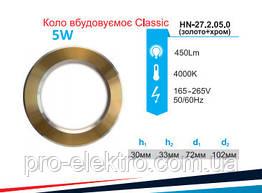 Світильник вбудований LED PANEL RIGHT HAUSEN коло CLASSIC 5W 4000K IP20 золото/хром HN-272050