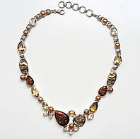 Колье серебряное с натуральными камнями раухтопаз цитрин кварц жемчуг аммонит