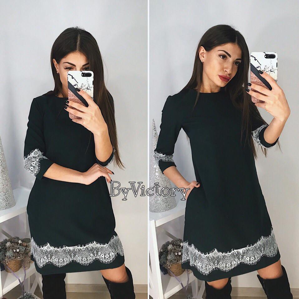 Красивое женское платье с кружевом
