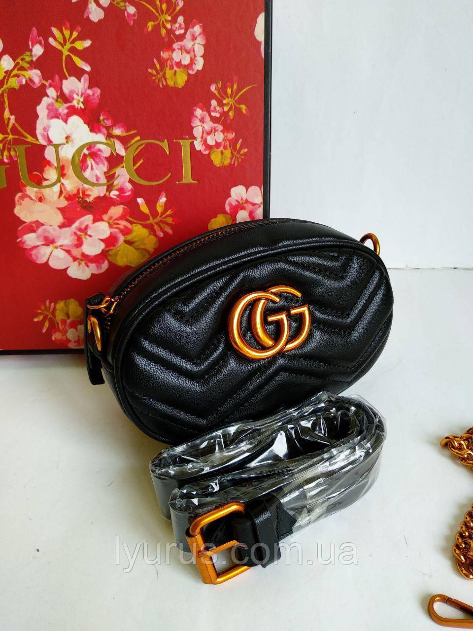 Женская сумка на пояс Gucci Marmont черного цвета