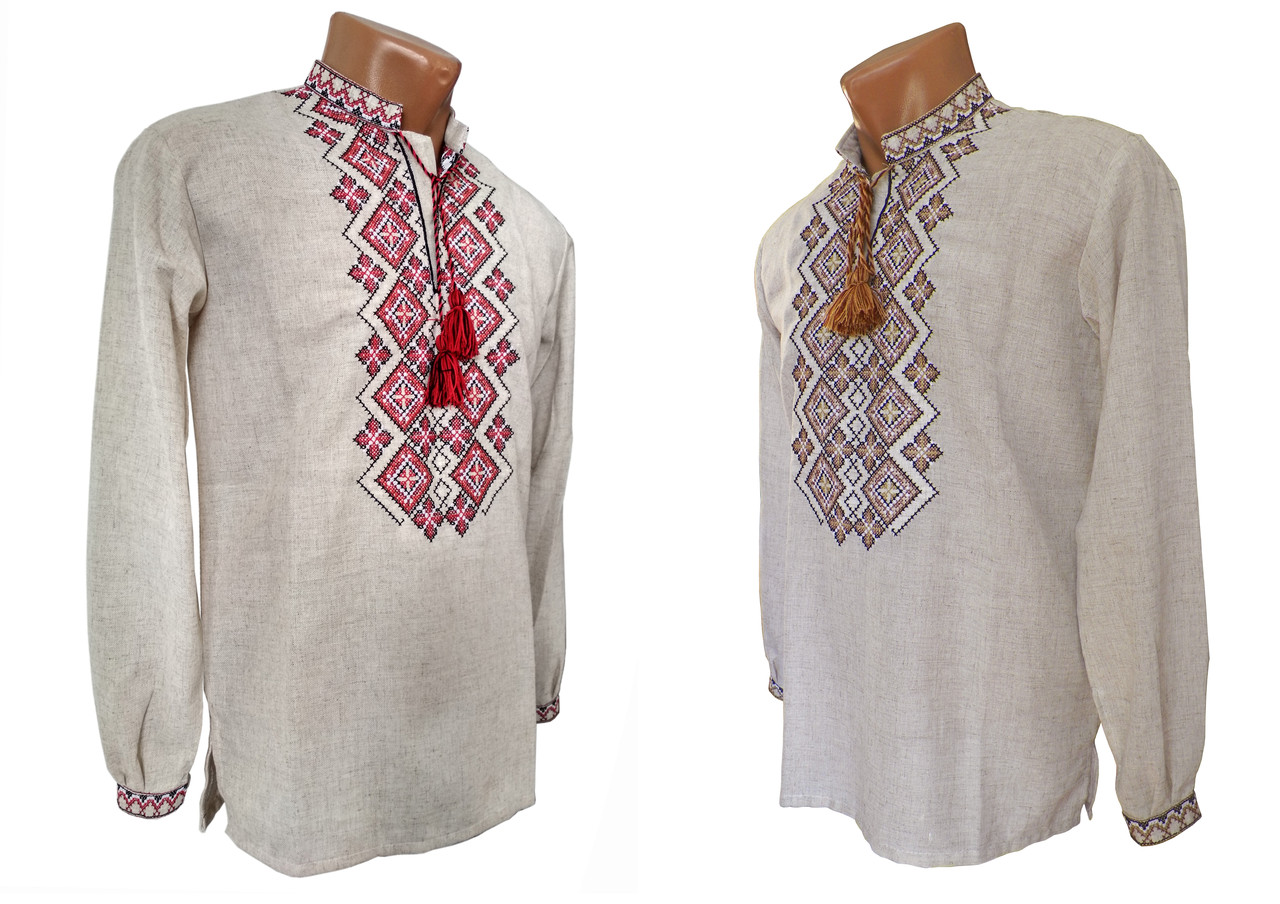 Праздничная мужская рубашка с вышивкой в крупных размерах