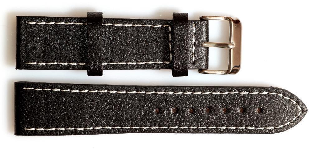 Ремешок кожаный SOLETTA 22 мм, черный с белой строчкой