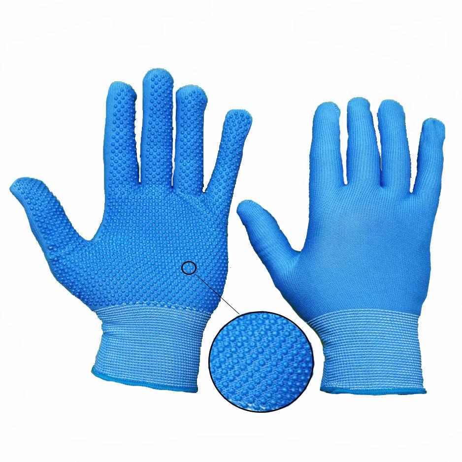 Перчатки рабочие нейлоновые тонкие с микроточкой, упаковка — 12 пар