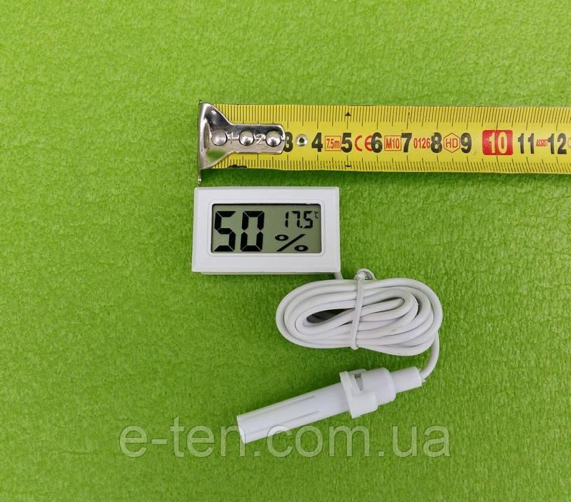 Термометр-градусник с ВЛАГОМЕРОМ-гигрометром цифровой (на батарейках) для инкубаторов - БЕЛЫЙ   Китай