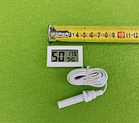 Термометр-градусник з ВОЛОГОМІРОМ-гігрометром цифровий (на батарейках) для інкубаторів - БІЛИЙ Китай, фото 1