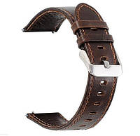 Кожаный ремешок для часов Samsung Galaxy Watch Active (SM-R500) / Active 2 (SM-R820/R830) - Dark Brown