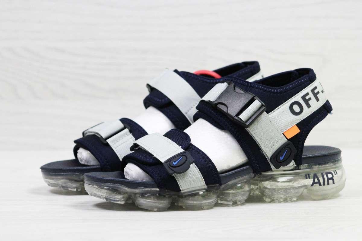 338bd3c0 ... фото Босоножки мужские серые с синим Nike Sandals Off white x Nike Air  VaporMax 5540, ...