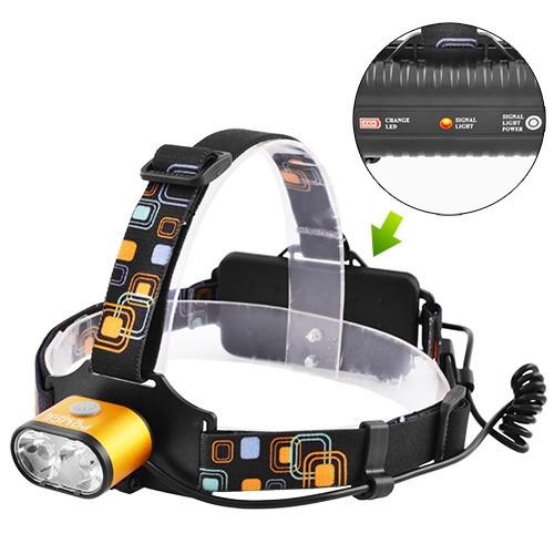 Фонарь налобный Police 2128-2T6, 2х18650, ЗУ microUSB, signal light, инд. заряда, BOX
