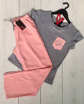 Женская пижама с однотонными штанами,одежда для дома из легких тканей