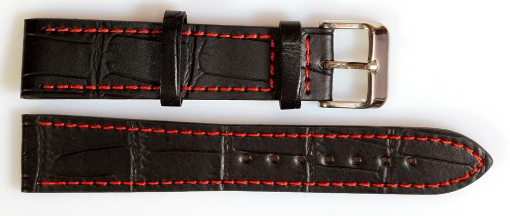Ремешок кожаный SOLETTA 20 мм, черный скрасной строчкой