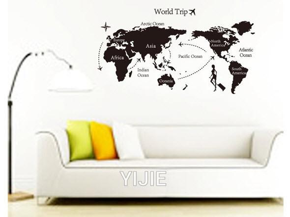 """Наклейка на стіну, вінілові наклейки, прикраси стіни наклейки в офіс """"карта світу"""" 80*140см (лист 60*90см)"""