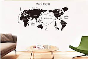"""Наклейка на стіну, вінілові наклейки, прикраси стіни наклейки в офіс """"карта світу"""" 80*140см (лист 60*90см), фото 3"""