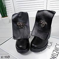 Женские кожаные ботинки в стиле Versace, фото 1