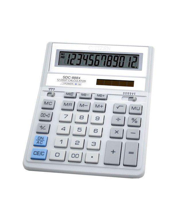 Калькулятор Citizen SDC-888 ХWH, 12 розрядів, біло-сірий