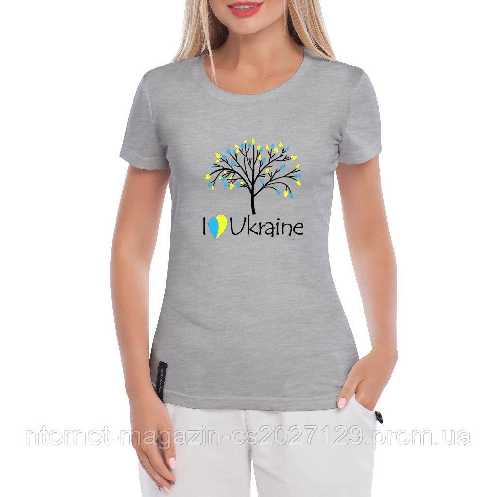 Футболка жіноча Люблю Україну (I love Ukraine) - патріотична футболка Україна