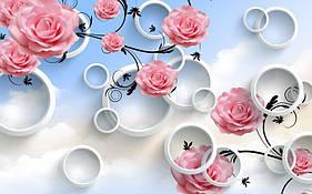 """3D фотообои """"Розы и круги"""""""