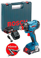Гайковерт Bosch GDX 180-Li + 2 акб GBA 18V 3 Ah + Swiss Peak Multitool (0615990K9W)
