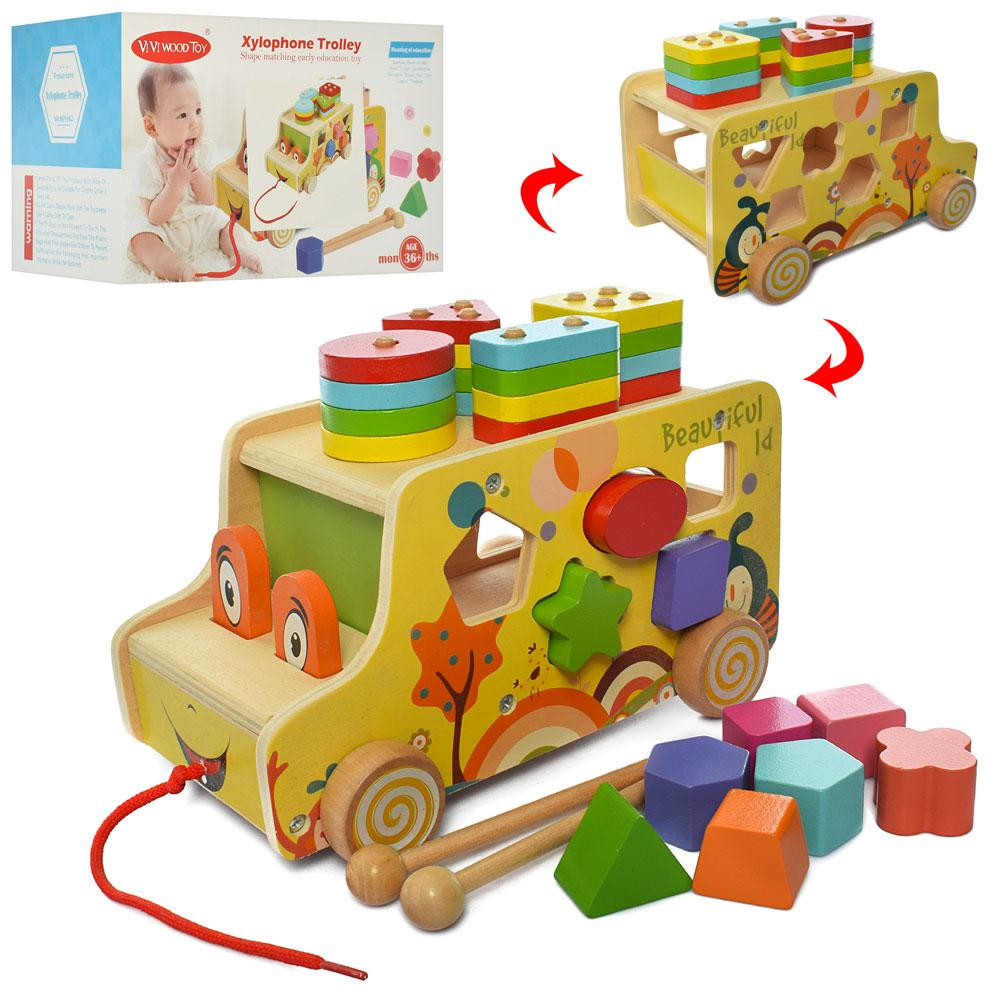 "Деревянная развивающая игрушка ""Машинка"" (каталка, геометрика, сортер) арт. 170, фото 1"