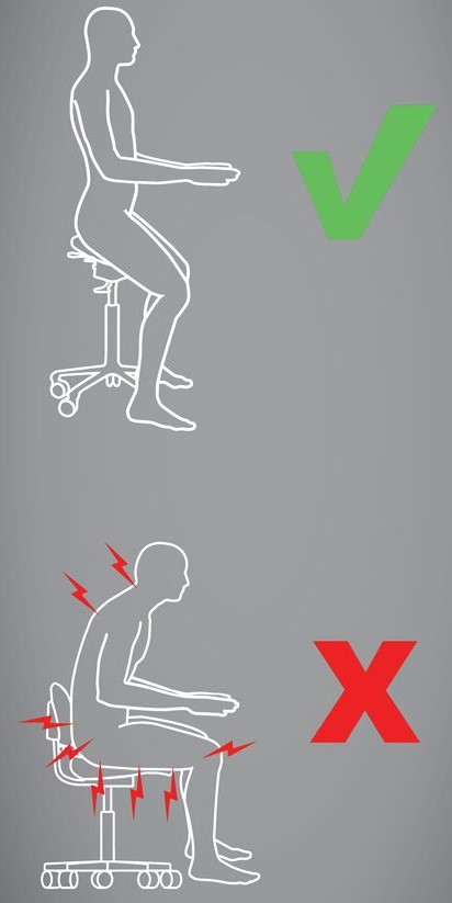Правильное положение тела при сидении