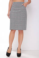 Женская офисная прямая юбка на талию до колен серая в бордовую клетку